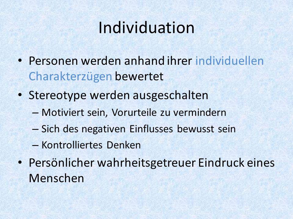Auslöser von Individuation Das Kontinuum-Modell: 1.