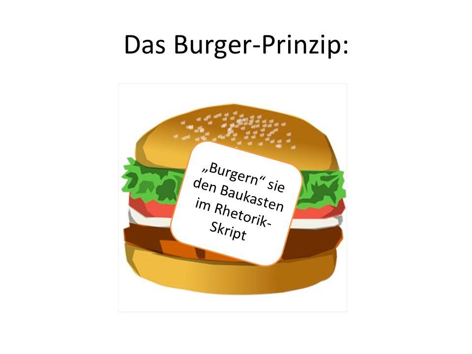 Das Burger-Prinzip: Burgern sie den Baukasten im Rhetorik- Skript