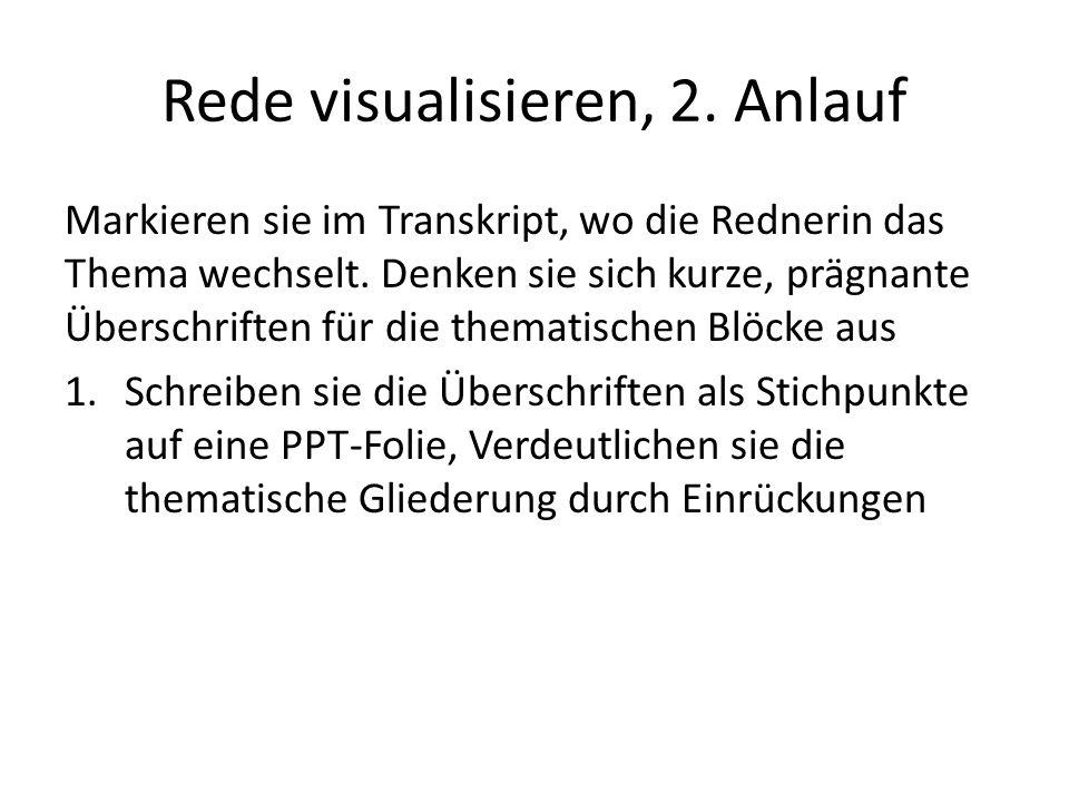 Rede visualisieren, 2.Anlauf Markieren sie im Transkript, wo die Rednerin das Thema wechselt.