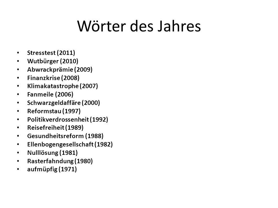 Wörter des Jahres Stresstest (2011) Wutbürger (2010) Abwrackprämie (2009) Finanzkrise (2008) Klimakatastrophe (2007) Fanmeile (2006) Schwarzgeldaffäre