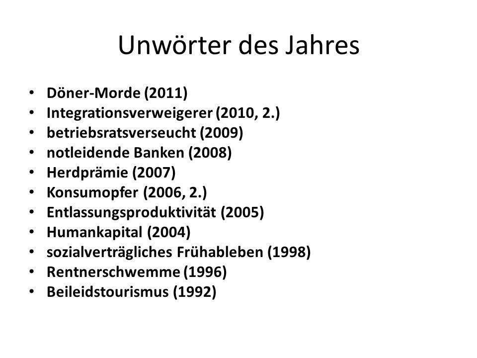 Unwörter des Jahres Döner-Morde (2011) Integrationsverweigerer (2010, 2.) betriebsratsverseucht (2009) notleidende Banken (2008) Herdprämie (2007) Konsumopfer (2006, 2.) Entlassungsproduktivität (2005) Humankapital (2004) sozialverträgliches Frühableben (1998) Rentnerschwemme (1996) Beileidstourismus (1992)