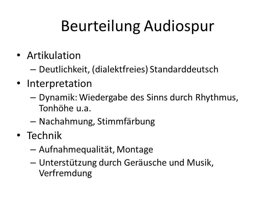 Beurteilung Audiospur Artikulation – Deutlichkeit, (dialektfreies) Standarddeutsch Interpretation – Dynamik: Wiedergabe des Sinns durch Rhythmus, Tonhöhe u.a.