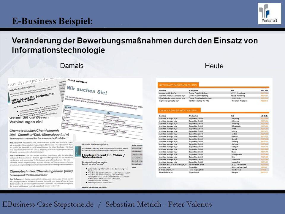 E-Business Beispiel : Veränderung der Bewerbungsmaßnahmen durch den Einsatz von Informationstechnologie Damals Heute