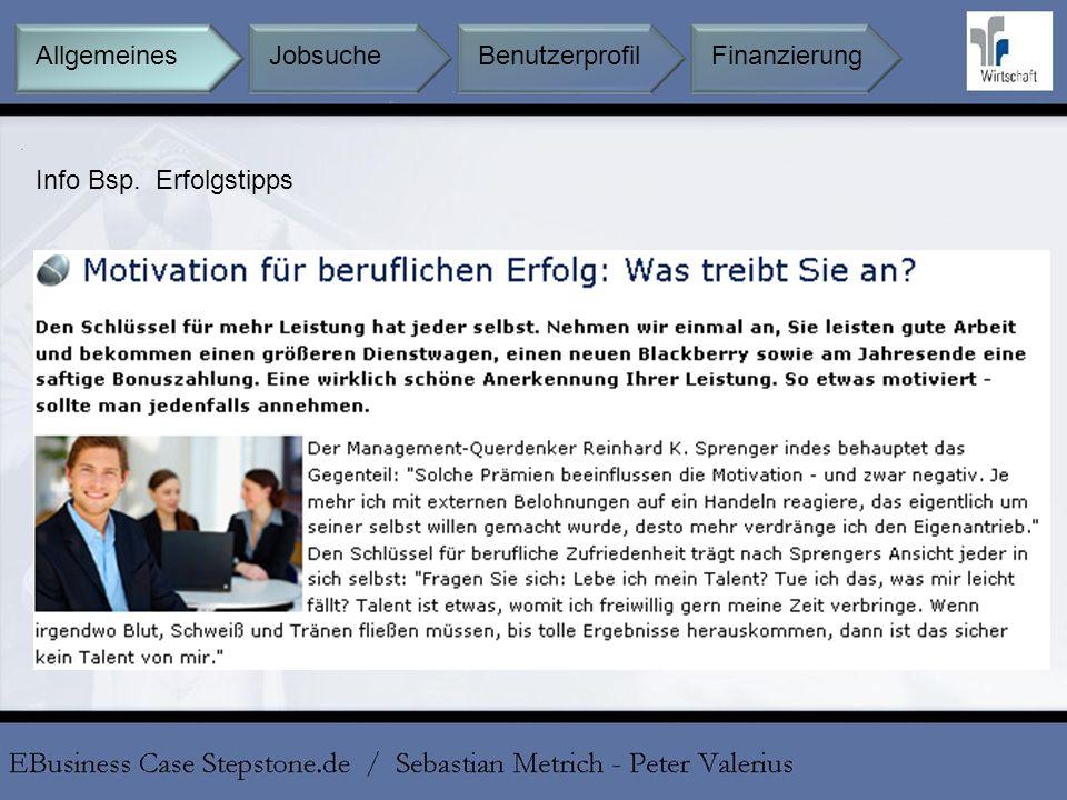 Jobsuche BenutzerprofilFinanzierungAllgemeines Info Bsp. Erfolgstipps