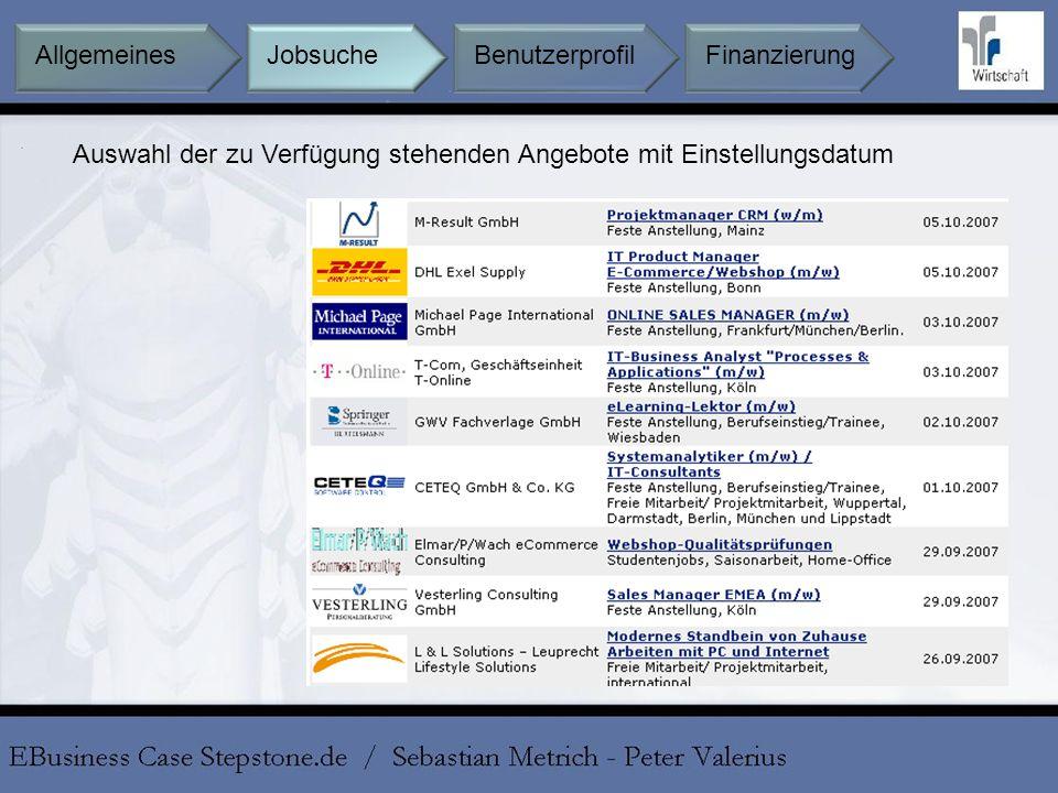 Auswahl der zu Verfügung stehenden Angebote mit Einstellungsdatum Jobsuche BenutzerprofilFinanzierungAllgemeines