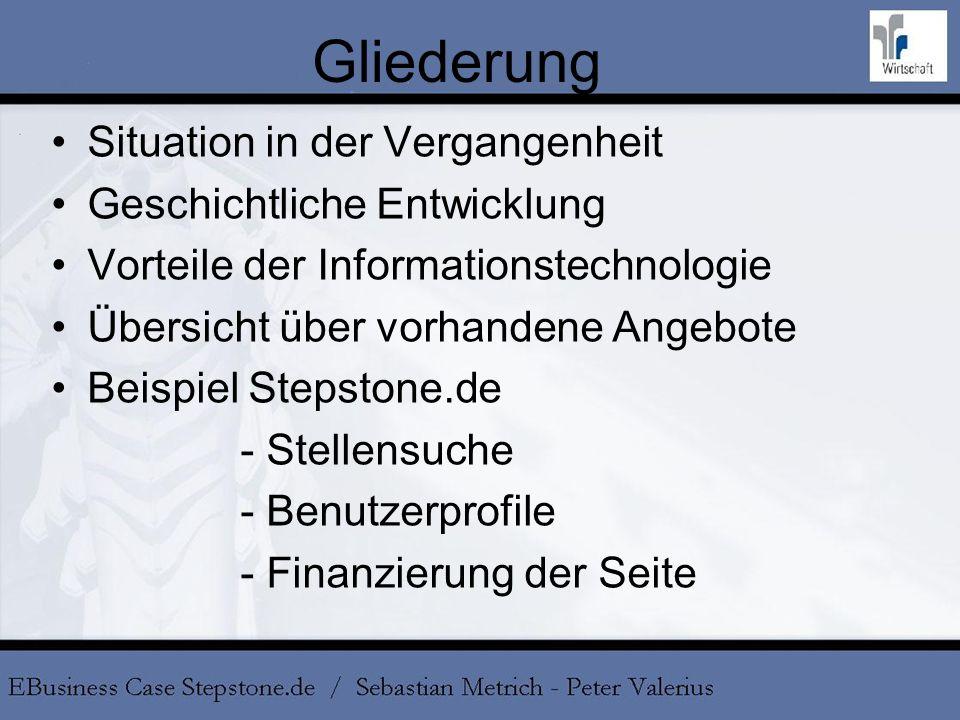 Gliederung Situation in der Vergangenheit Geschichtliche Entwicklung Vorteile der Informationstechnologie Übersicht über vorhandene Angebote Beispiel
