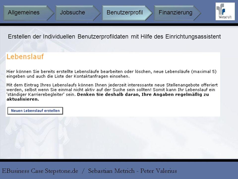 Erstellen der Individuellen Benutzerprofildaten mit Hilfe des Einrichtungsassistent BenutzerprofilFinanzierungAllgemeines Jobsuche