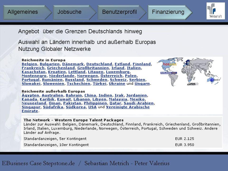 Angebot über die Grenzen Deutschlands hinweg Auswahl an Ländern innerhalb und außerhalb Europas Nutzung Globaler Netzwerke Jobsuche BenutzerprofilFina