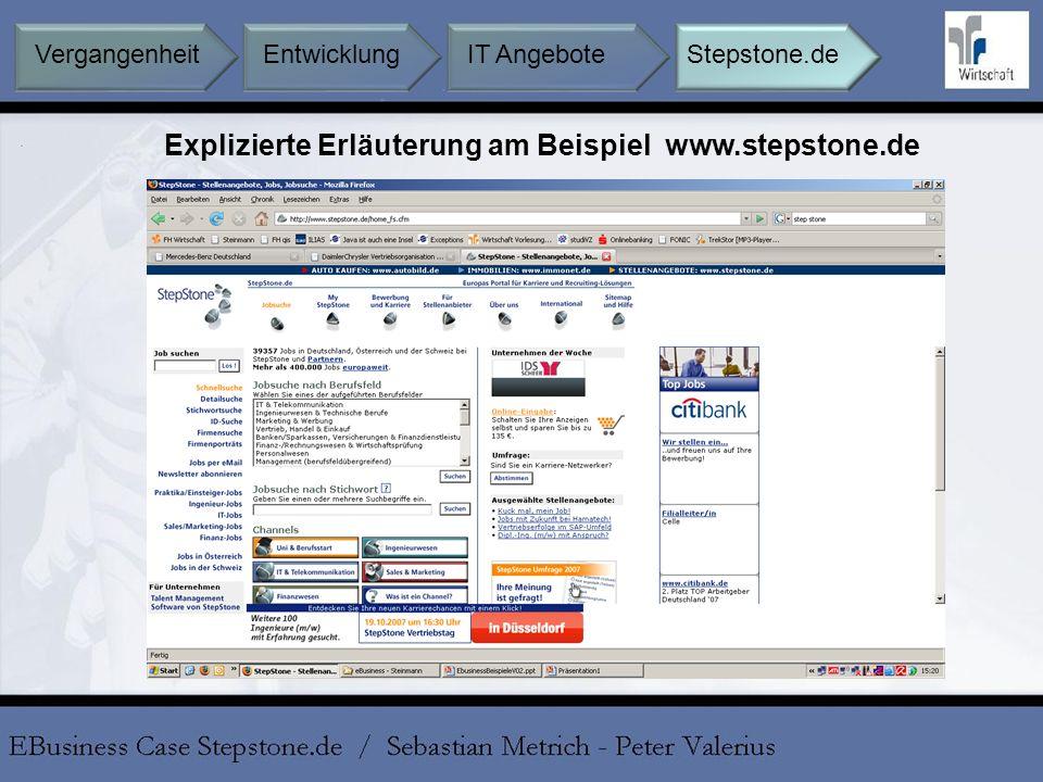 Explizierte Erläuterung am Beispiel www.stepstone.de Entwicklung IT AngeboteStepstone.deVergangenheit
