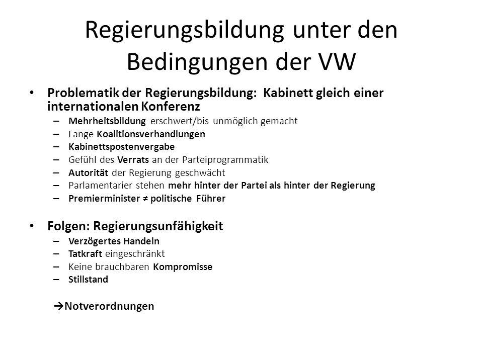 Die VW und das Recht der Parlamentsauflösung VW entwertet eine der wichtigsten Waffen der Regierung gegen widerspenstige Parteien Parlamentsauflösung durchaus demokratisch, da der Streit dem Volk vorgelegt wird MW: Parlamentsauflösung wirkungsvoll – Geringe Stimmenverschiebung = große Sitzveränderungen – Keine Wiederwahlgarantie – Kosten – Mehr Handeln im Kollektiv VW: Parlamentsauflösung nicht wirkungsvoll – Keine große Stimmenverschiebung – Abgeordnete und Parteiführer stehen weiter auf der Liste Wiederwahl – Nach Wahl mehr oder wenig gleichen Zustände als zuvor Abstumpfung