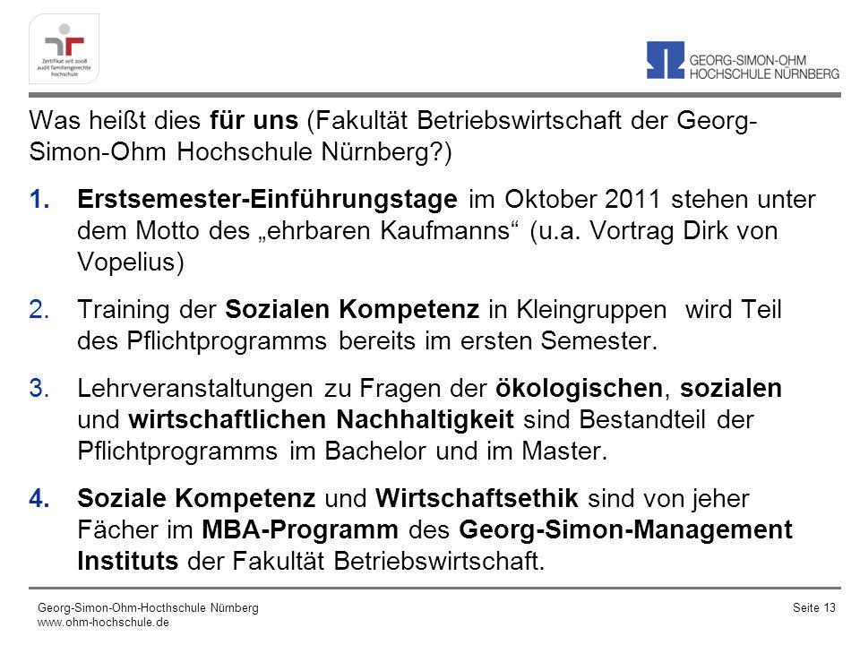 Was heißt dies für uns (Fakultät Betriebswirtschaft der Georg- Simon-Ohm Hochschule Nürnberg?) 1.Erstsemester-Einführungstage im Oktober 2011 stehen unter dem Motto des ehrbaren Kaufmanns (u.a.