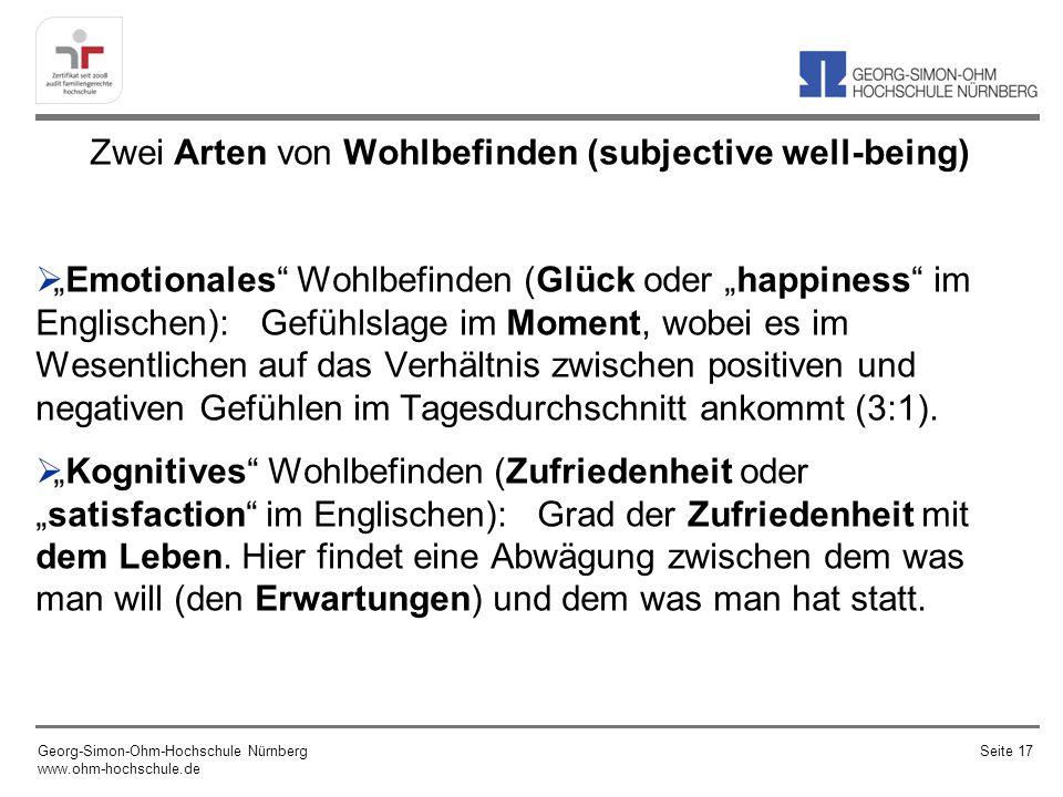 Zwei Arten von Wohlbefinden (subjective well-being) Emotionales Wohlbefinden (Glück oder happiness im Englischen): Gefühlslage im Moment, wobei es im Wesentlichen auf das Verhältnis zwischen positiven und negativen Gefühlen im Tagesdurchschnitt ankommt (3:1).