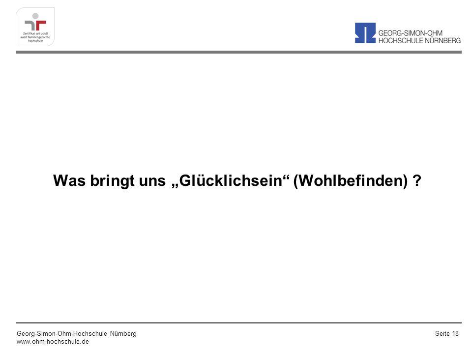 Was bringt uns Glücklichsein (Wohlbefinden) ? Georg-Simon-Ohm-Hochschule Nürnberg www.ohm-hochschule.de Seite 18