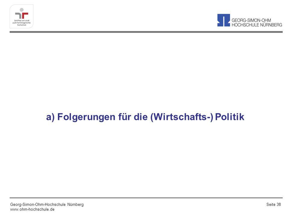 a) Folgerungen für die (Wirtschafts-) Politik Georg-Simon-Ohm-Hochschule Nürnberg www.ohm-hochschule.de Seite 38
