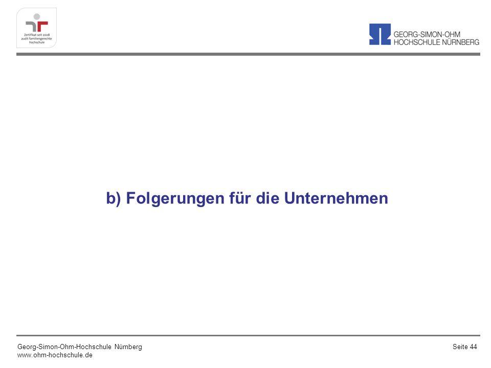 b) Folgerungen für die Unternehmen Georg-Simon-Ohm-Hochschule Nürnberg www.ohm-hochschule.de Seite 44