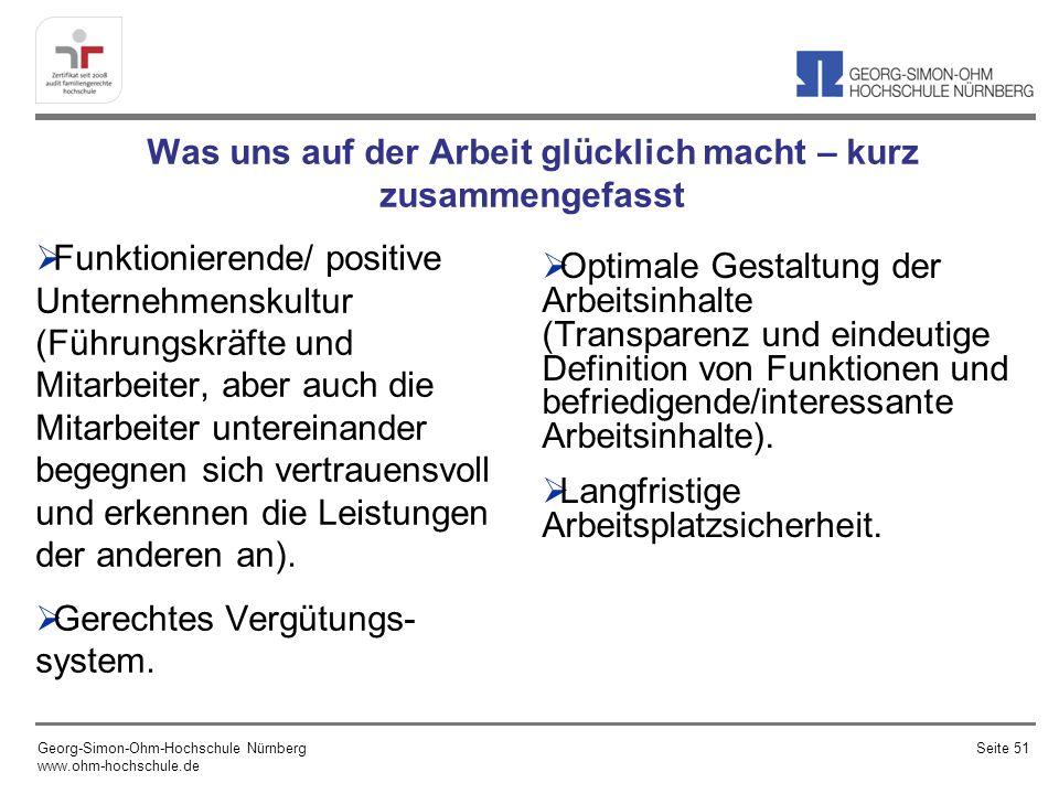 Was uns auf der Arbeit glücklich macht – kurz zusammengefasst Funktionierende/ positive Unternehmenskultur (Führungskräfte und Mitarbeiter, aber auch