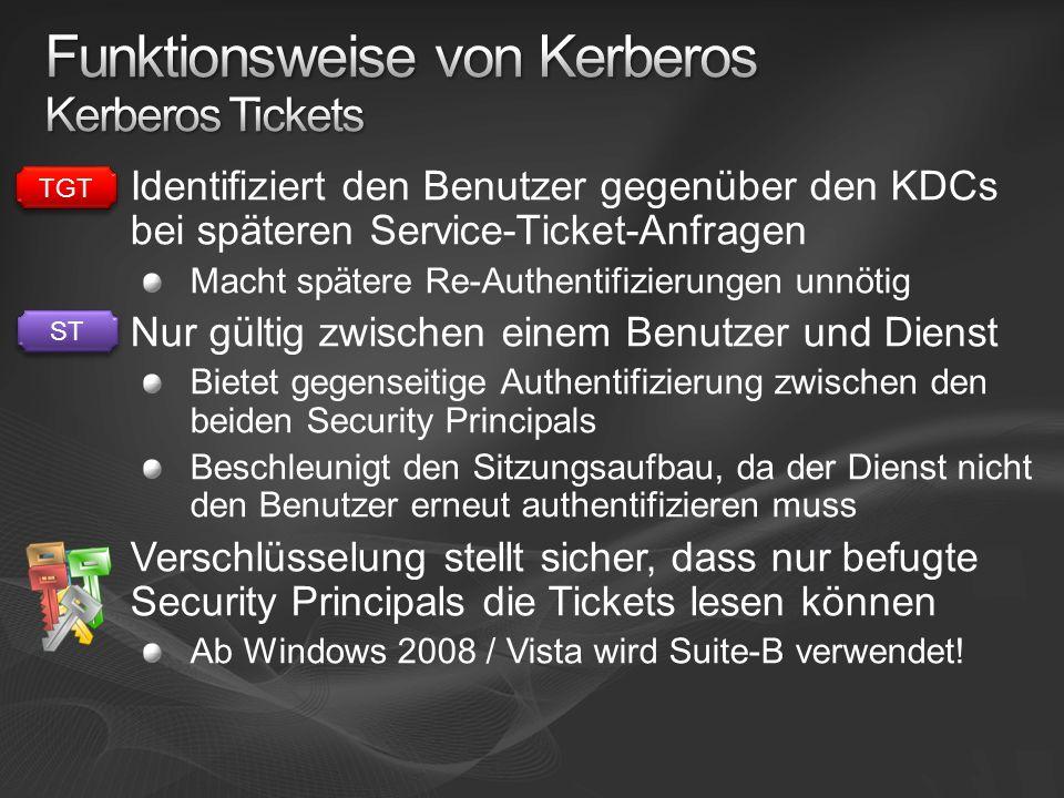 Identifiziert den Benutzer gegenüber den KDCs bei späteren Service-Ticket-Anfragen Macht spätere Re-Authentifizierungen unnötig Nur gültig zwischen einem Benutzer und Dienst Bietet gegenseitige Authentifizierung zwischen den beiden Security Principals Beschleunigt den Sitzungsaufbau, da der Dienst nicht den Benutzer erneut authentifizieren muss Verschlüsselung stellt sicher, dass nur befugte Security Principals die Tickets lesen können Ab Windows 2008 / Vista wird Suite-B verwendet.