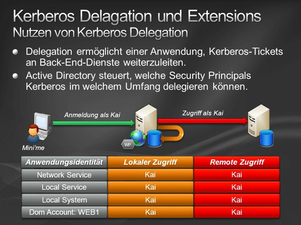 Delegation ermöglicht einer Anwendung, Kerberos-Tickets an Back-End-Dienste weiterzuleiten.
