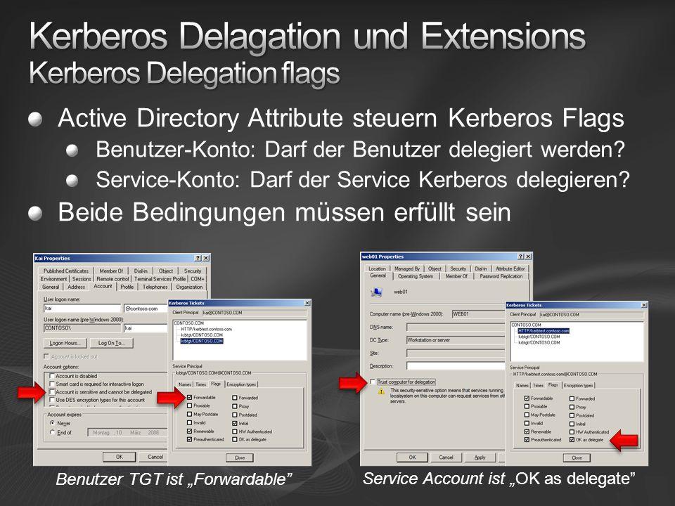 Active Directory Attribute steuern Kerberos Flags Benutzer-Konto: Darf der Benutzer delegiert werden.