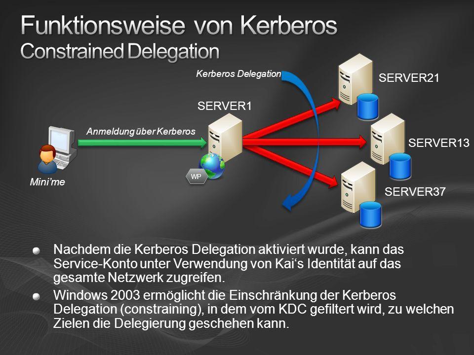 Minime SERVER21 SERVER13 SERVER37 Anmeldung über Kerberos Kerberos Delegation SERVER1 WP Nachdem die Kerberos Delegation aktiviert wurde, kann das Service-Konto unter Verwendung von Kais Identität auf das gesamte Netzwerk zugreifen.