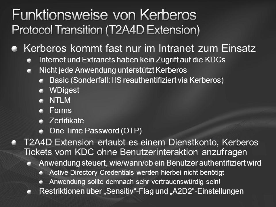 Kerberos kommt fast nur im Intranet zum Einsatz Internet und Extranets haben kein Zugriff auf die KDCs Nicht jede Anwendung unterstützt Kerberos Basic (Sonderfall: IIS reauthentifiziert via Kerberos) WDigest NTLM Forms Zertifikate One Time Password (OTP) T2A4D Extension erlaubt es einem Dienstkonto, Kerberos Tickets vom KDC ohne Benutzerinteraktion anzufragen Anwendung steuert, wie/wann/ob ein Benutzer authentifiziert wird Active Directory Credentials werden hierbei nicht benötigt Anwendung sollte demnach sehr vertrauenswürdig sein.