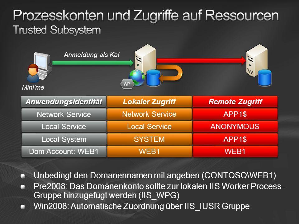 Remote Zugriff Lokaler Zugriff AnwendungsidentitätAnwendungsidentität APP1$ Network Service ANONYMOUS Local Service APP1$ SYSTEM Local System WEB1 Dom Account: WEB1 Minime WP Unbedingt den Domänennamen mit angeben (CONTOSO\WEB1) Pre2008: Das Domänenkonto sollte zur lokalen IIS Worker Process- Gruppe hinzugefügt werden (IIS_WPG) Win2008: Automatische Zuordnung über IIS_IUSR Gruppe Anmeldung als Kai