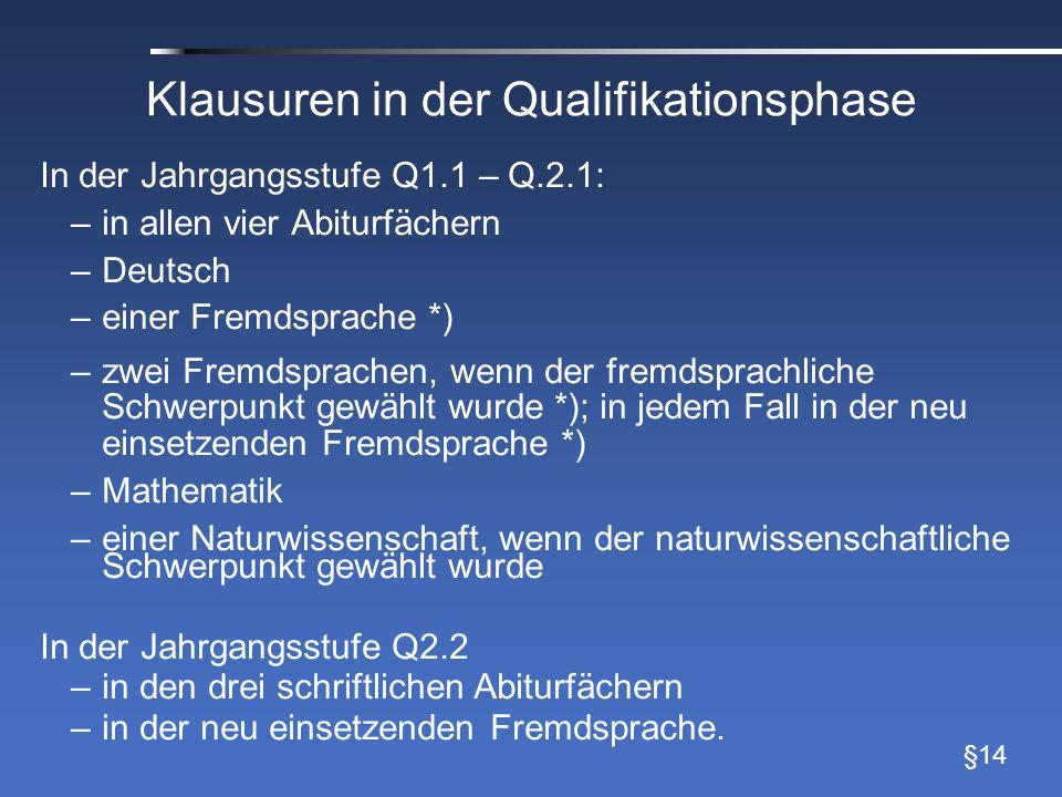 Klausuren in der Qualifikationsphase In der Jahrgangsstufe Q1.1 – Q.2.1: –in allen vier Abiturfächern –Deutsch –einer Fremdsprache *) –zwei Fremdsprac