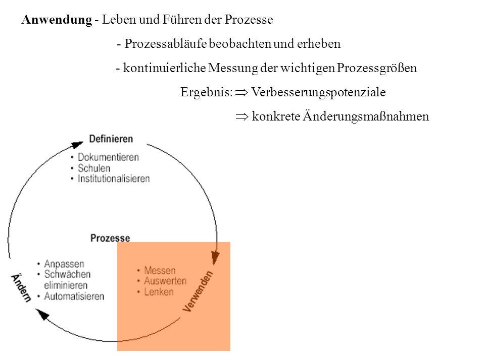 Anwendung - Leben und Führen der Prozesse - Prozessabläufe beobachten und erheben Ergebnis: Verbesserungspotenziale - kontinuierliche Messung der wich