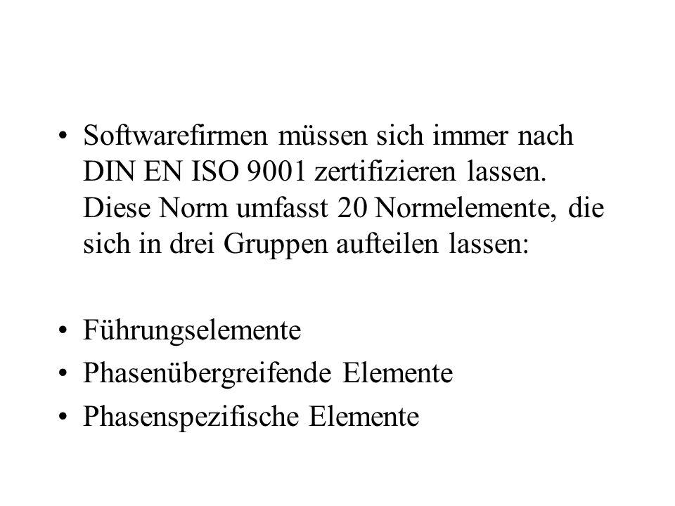 Softwarefirmen müssen sich immer nach DIN EN ISO 9001 zertifizieren lassen. Diese Norm umfasst 20 Normelemente, die sich in drei Gruppen aufteilen las