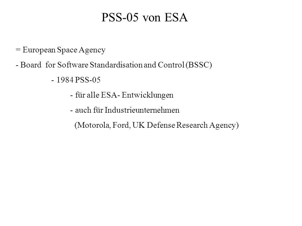 PSS-05 von ESA = European Space Agency - Board for Software Standardisation and Control (BSSC) - 1984 PSS-05 - für alle ESA- Entwicklungen - auch für