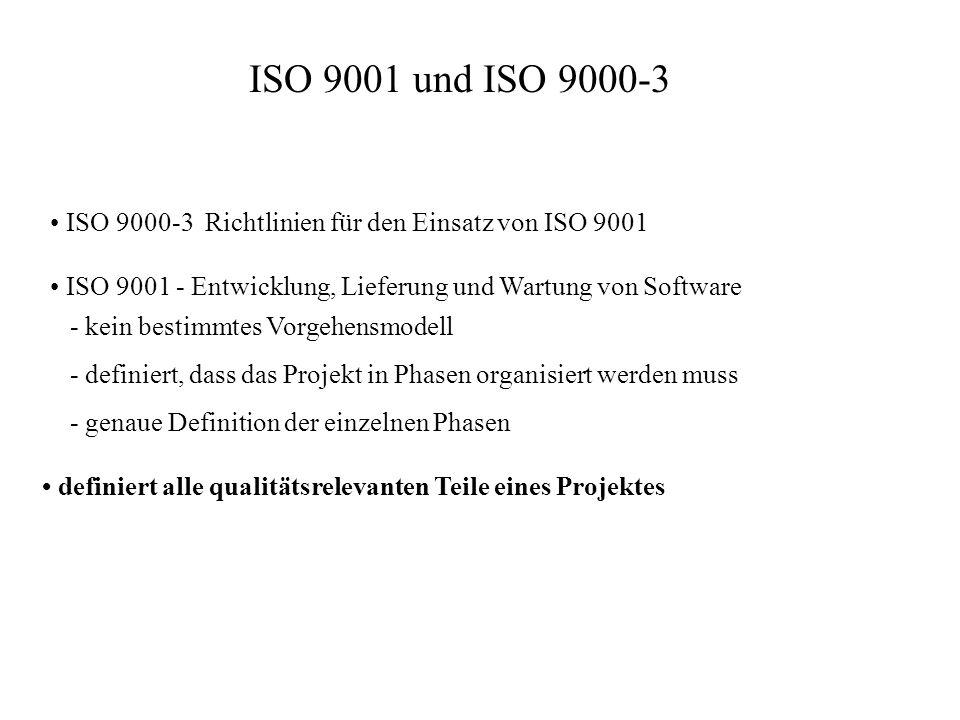 ISO 9001 und ISO 9000-3 ISO 9000-3 Richtlinien für den Einsatz von ISO 9001 ISO 9001 - Entwicklung, Lieferung und Wartung von Software - kein bestimmt
