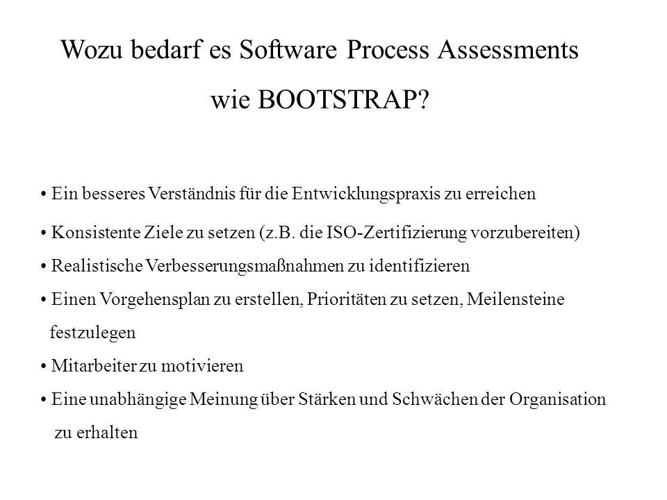 Wozu bedarf es Software Process Assessments wie BOOTSTRAP? Ein besseres Verständnis für die Entwicklungspraxis zu erreichen Mitarbeiter zu motivieren