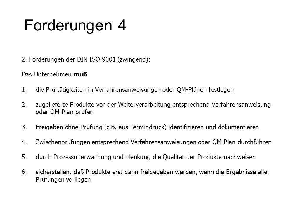 Forderungen 4 2. Forderungen der DIN ISO 9001 (zwingend): Das Unternehmen muß 1.die Prüftätigkeiten in Verfahrensanweisungen oder QM-Plänen festlegen