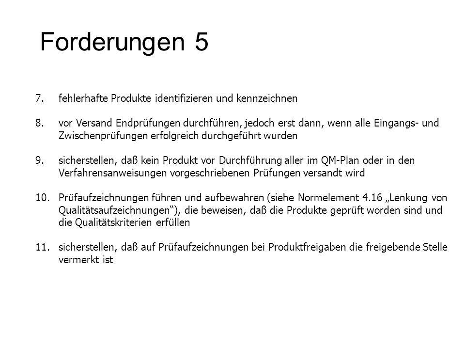 Forderungen 5 7.fehlerhafte Produkte identifizieren und kennzeichnen 8.vor Versand Endprüfungen durchführen, jedoch erst dann, wenn alle Eingangs- und