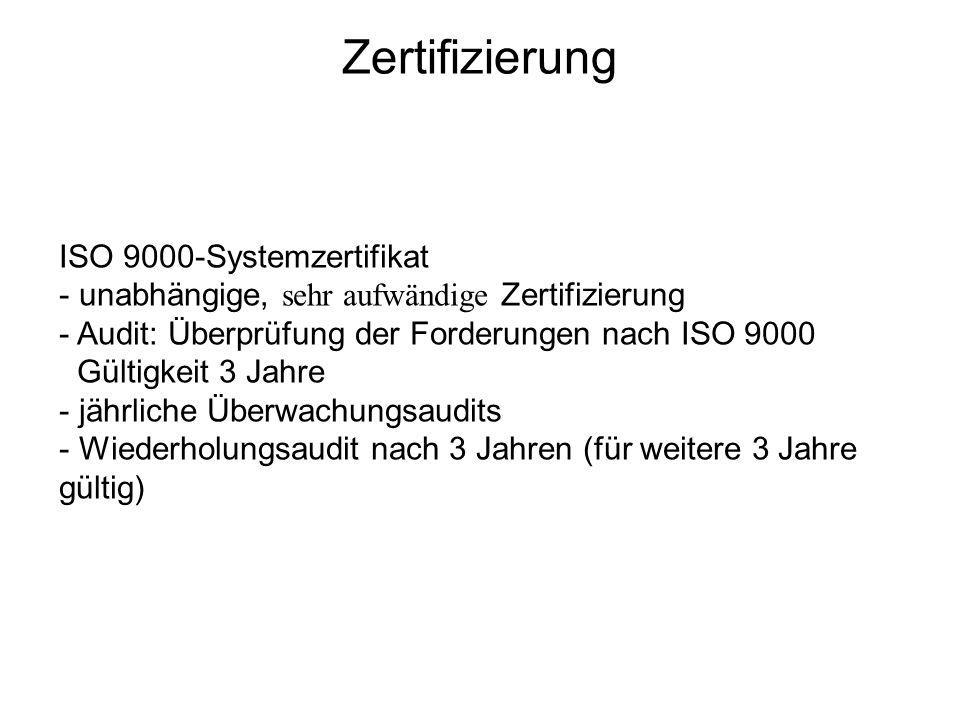 ISO 9000-Systemzertifikat - unabhängige, sehr aufwändige Zertifizierung - Audit: Überprüfung der Forderungen nach ISO 9000 Gültigkeit 3 Jahre - jährli