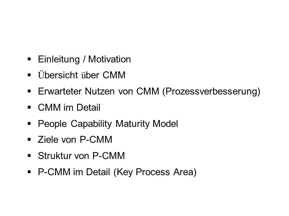 Einleitung / Motivation Ü bersicht ü ber CMM Erwarteter Nutzen von CMM (Prozessverbesserung) CMM im Detail People Capability Maturity Model Ziele von