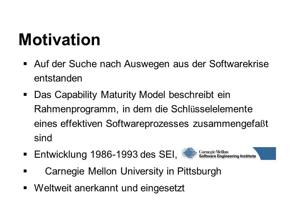 Auf der Suche nach Auswegen aus der Softwarekrise entstanden Das Capability Maturity Model beschreibt ein Rahmenprogramm, in dem die Schl ü sselelemen