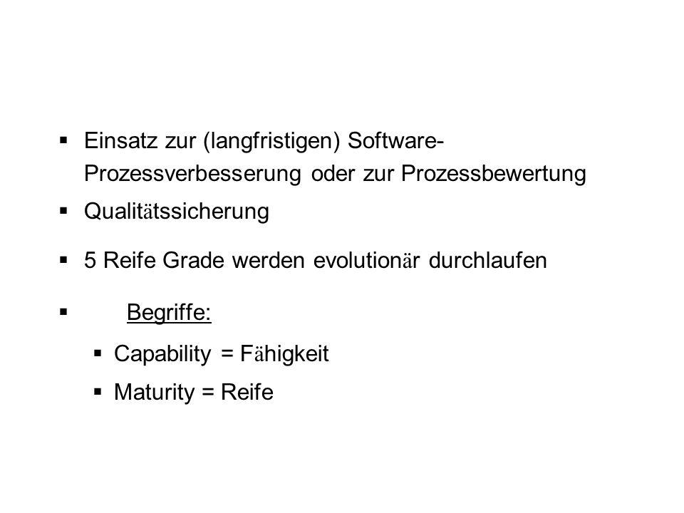 Einsatz zur (langfristigen) Software- Prozessverbesserung oder zur Prozessbewertung Qualit ä tssicherung 5 Reife Grade werden evolution ä r durchlaufe