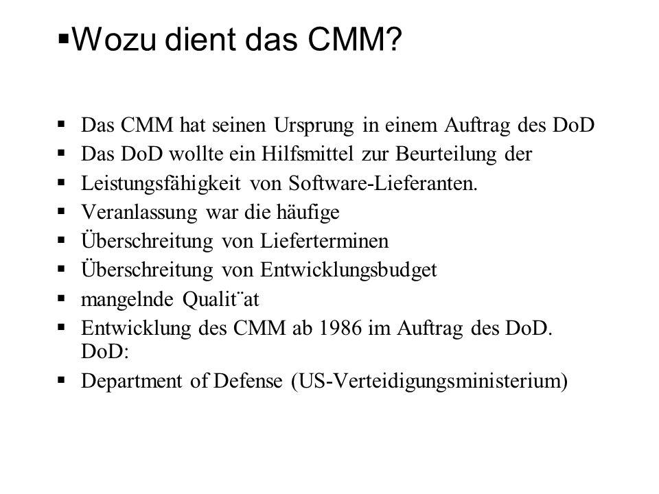 Wozu dient das CMM? Das CMM hat seinen Ursprung in einem Auftrag des DoD Das DoD wollte ein Hilfsmittel zur Beurteilung der Leistungsfähigkeit von Sof