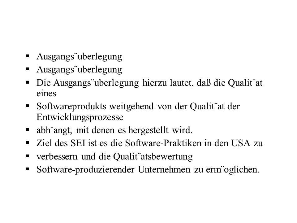 Ausgangs¨uberlegung Die Ausgangs¨uberlegung hierzu lautet, daß die Qualit¨at eines Softwareprodukts weitgehend von der Qualit¨at der Entwicklungsproze