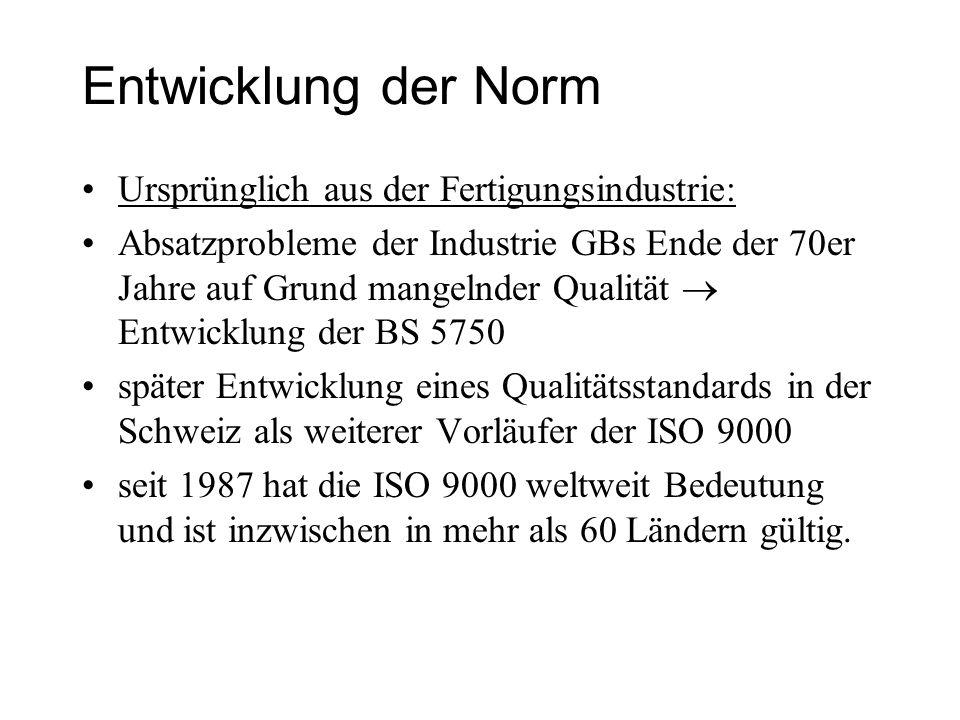 Entwicklung der Norm Ursprünglich aus der Fertigungsindustrie: Absatzprobleme der Industrie GBs Ende der 70er Jahre auf Grund mangelnder Qualität Entw