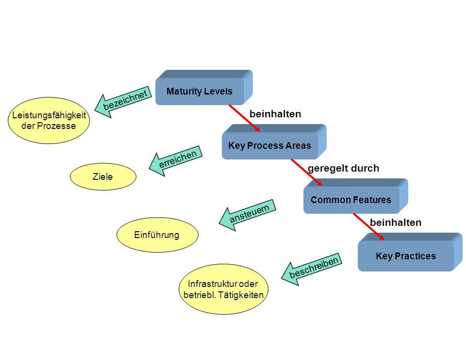 Maturity Levels Key Process Areas Common Features Key Practices Leistungsfähigkeit der Prozesse Ziele Einführung Infrastruktur oder betriebl. Tätigkei
