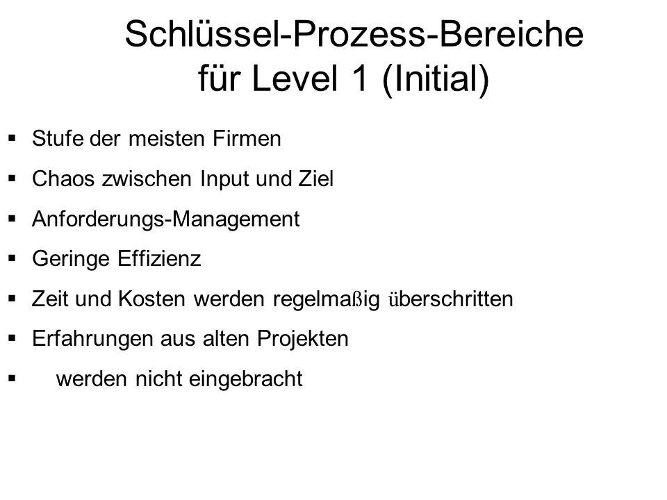 Schlüssel-Prozess-Bereiche für Level 1 (Initial) Stufe der meisten Firmen Chaos zwischen Input und Ziel Anforderungs-Management Geringe Effizienz Zeit
