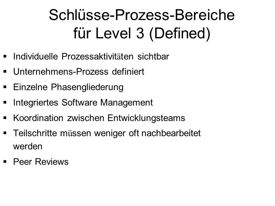Schlüsse-Prozess-Bereiche für Level 3 (Defined) Individuelle Prozessaktivit ä ten sichtbar Unternehmens-Prozess definiert Einzelne Phasengliederung In