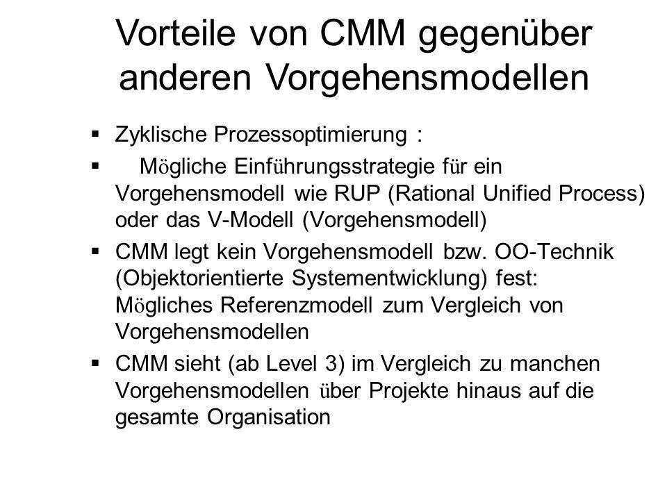 Vorteile von CMM gegenüber anderen Vorgehensmodellen Zyklische Prozessoptimierung : M ö gliche Einf ü hrungsstrategie f ü r ein Vorgehensmodell wie RU