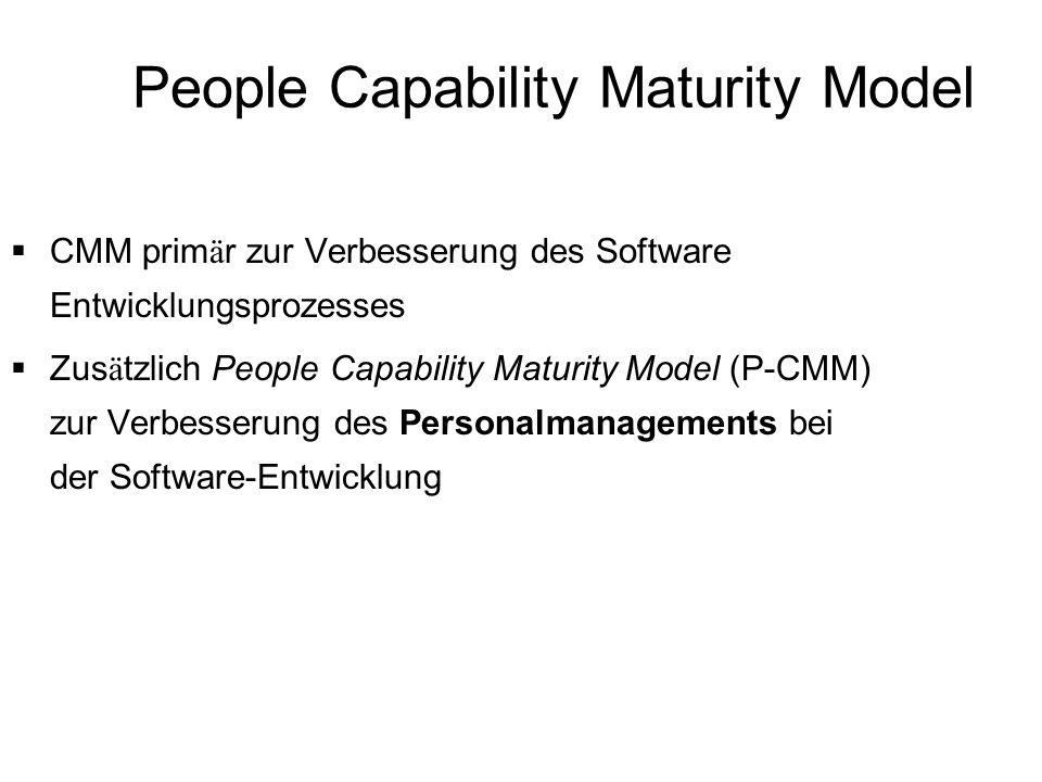People Capability Maturity Model CMM prim ä r zur Verbesserung des Software Entwicklungsprozesses Zus ä tzlich People Capability Maturity Model (P-CMM
