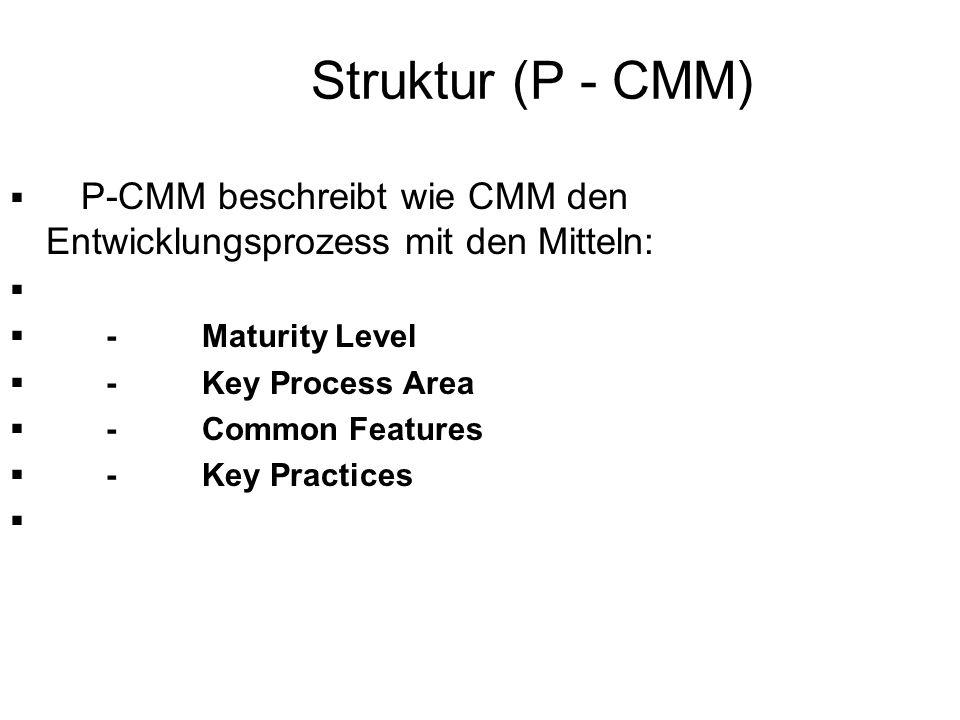 Struktur (P - CMM) P-CMM beschreibt wie CMM den Entwicklungsprozess mit den Mitteln: -Maturity Level -Key Process Area -Common Features -Key Practices