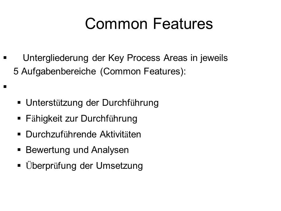 Common Features Untergliederung der Key Process Areas in jeweils 5 Aufgabenbereiche (Common Features): Unterst ü tzung der Durchf ü hrung F ä higkeit