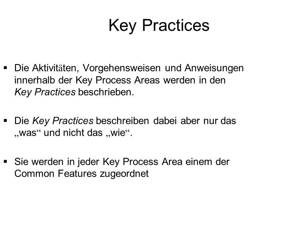 Key Practices Die Aktivit ä ten, Vorgehensweisen und Anweisungen innerhalb der Key Process Areas werden in den Key Practices beschrieben. Die Key Prac