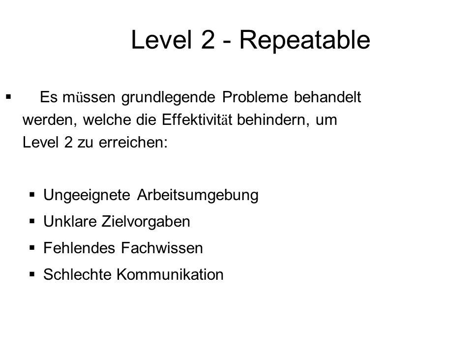 Level 2 - Repeatable Es m ü ssen grundlegende Probleme behandelt werden, welche die Effektivit ä t behindern, um Level 2 zu erreichen: Ungeeignete Arb